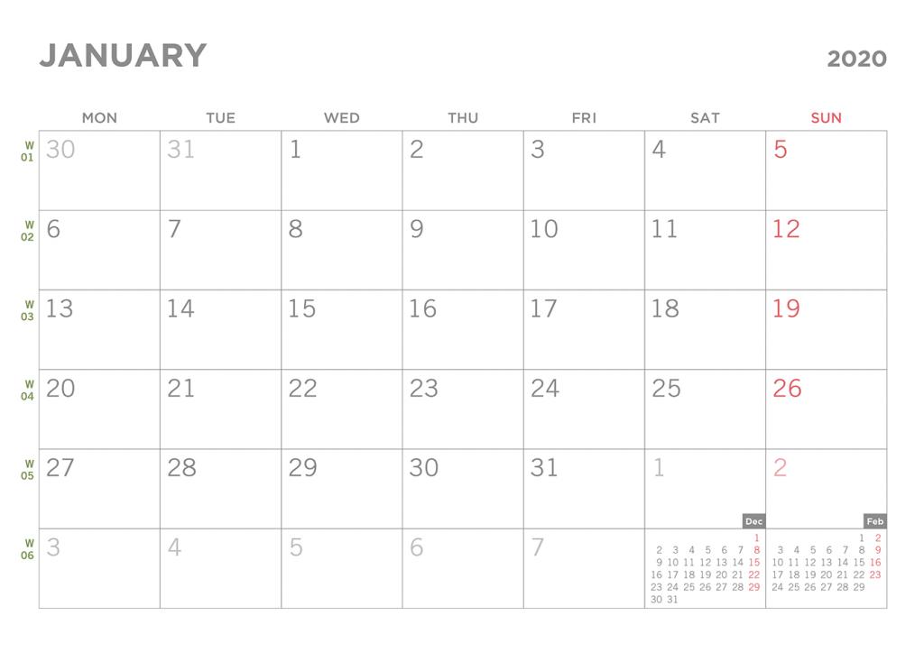 simple 2020 printable pdf calendar blank calendar starting with monday the 1