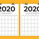 Vertical 85 X 11 Inch 2020 Calendar 8.5 X 11 Calendar Template