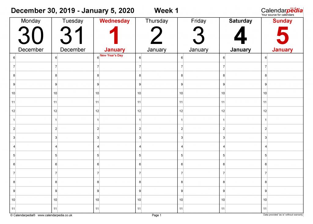 weekly calendar 2020 uk free printable templates for pdf six week calendar printable pdf no weekend