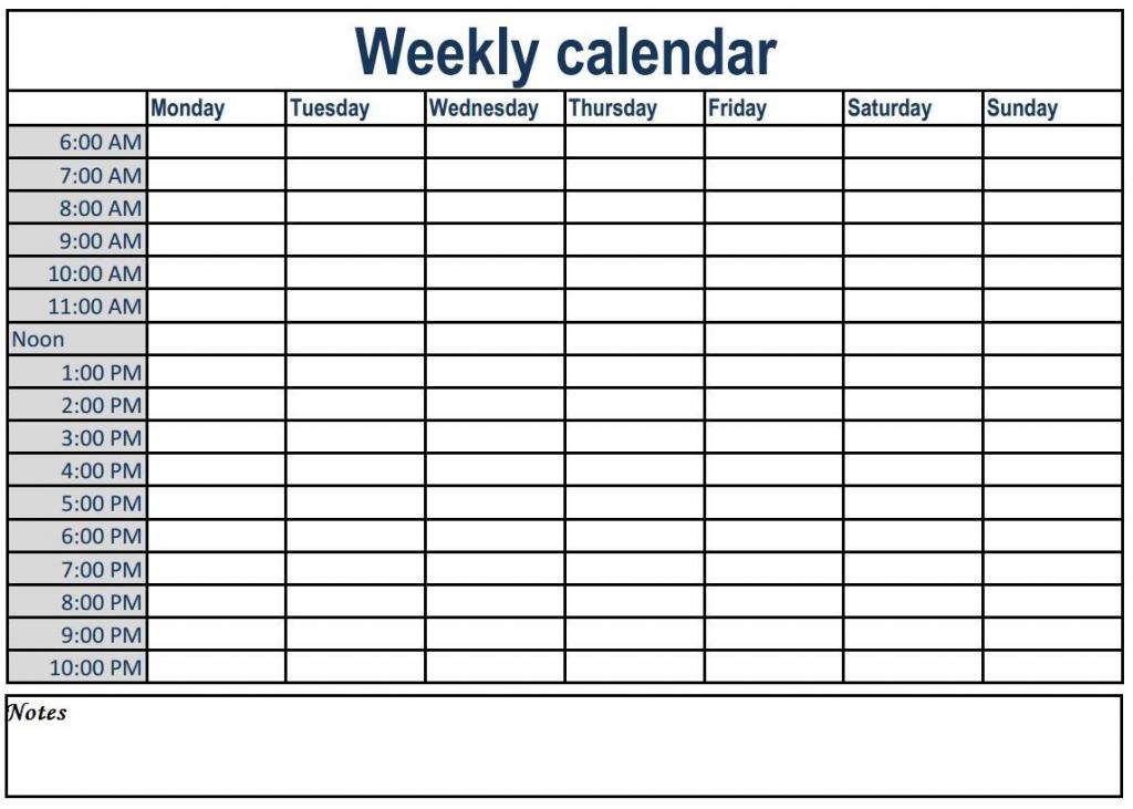 Weekly Calendar With Time Slots Weeklyplanner Calendars Blank Day Calendar With Times
