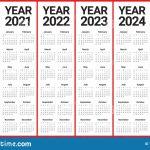Year 2020 2021 2022 2023 2024 2025 Calendar Vector Design 10 Year Calendar From 2020