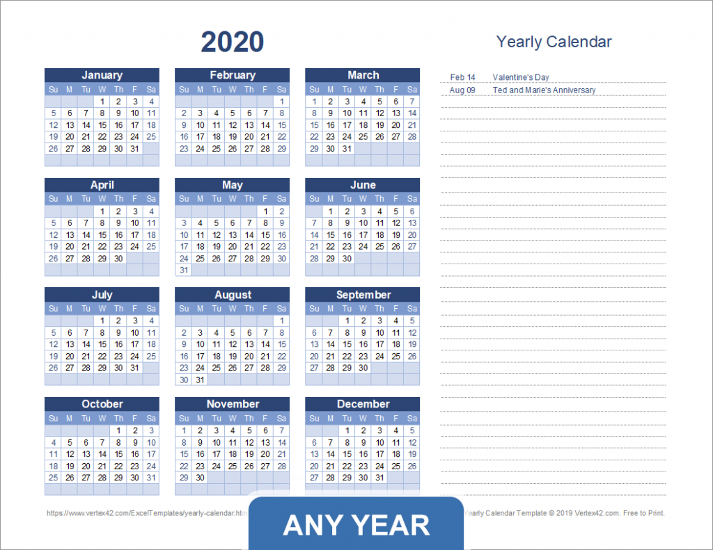 yearly calendar template for 2020 and beyond excel 5 year calendar 1
