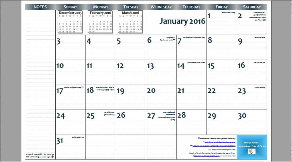 2016 1117 Free Printable Page Per Month Wall Calendar With Printable 11x17 Calendar With Lines