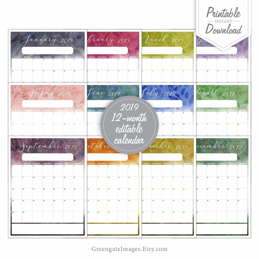 2019 editable calendar fillable calendar 12 month 12 month printable fill in