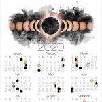 2020 Moon Phase Calendar Lunar Calendar With Solar Eclipse Printable Wiccan Calendar 2020