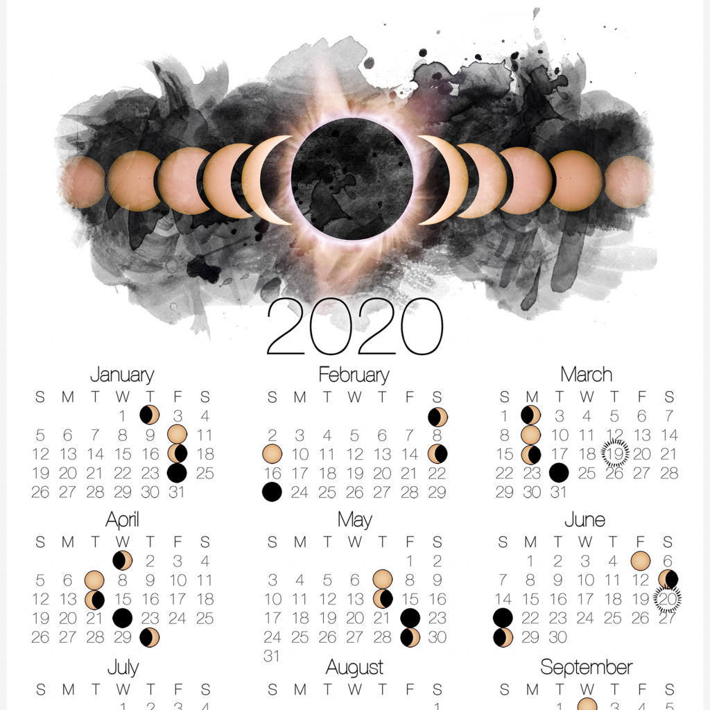 2020 moon phase calendar lunar calendar with solar eclipse printable wiccan calendar 2020