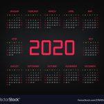 2020 Year Calendar Template Royalty Free Vector Image 10000 Year Calenda