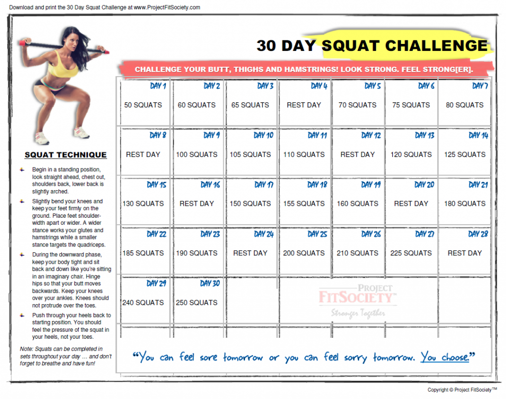 30 Day Squat Challenge Calendar Click Here To Download The Squat Challenge Calendar