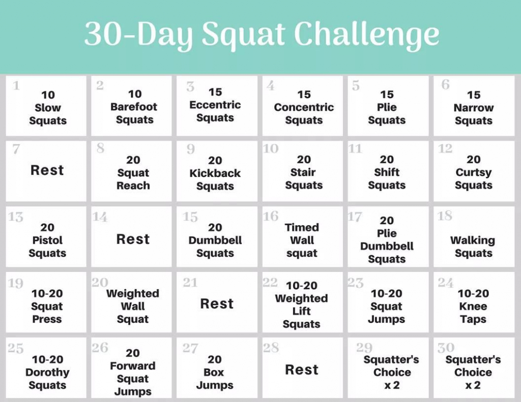 30 Day Squat Challenge Calendar To Count Squats