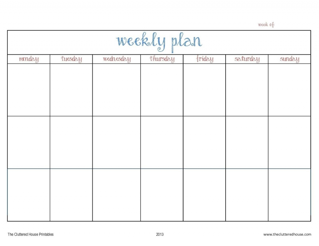 7 Day Weekly Planner Template Printable Template Calendar 7 Day Calender Template