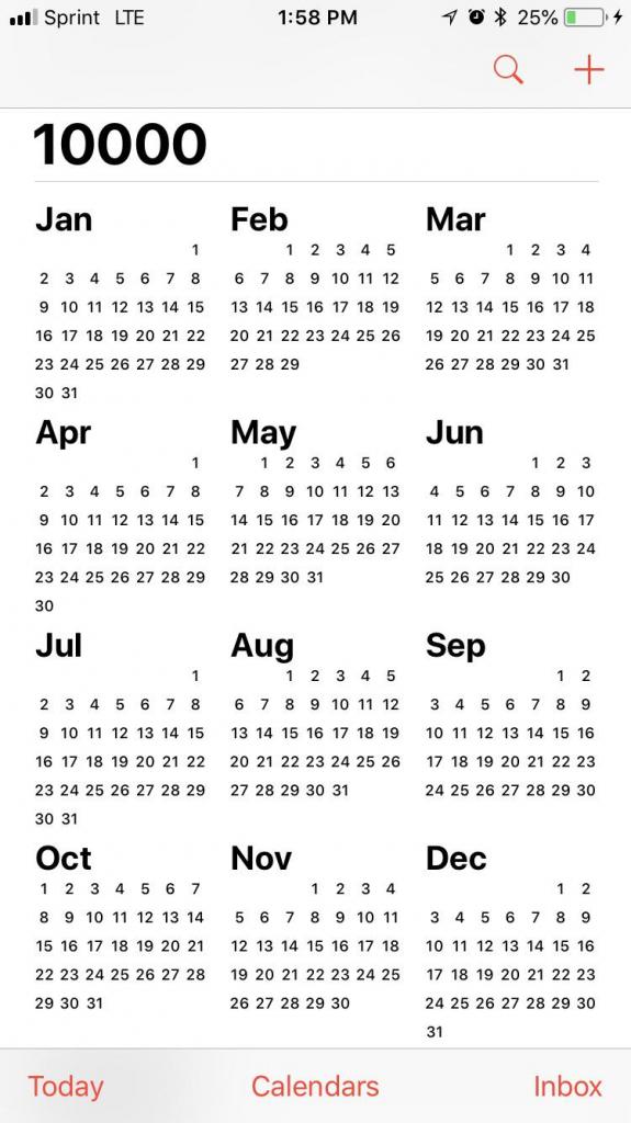 Apples Calendar App Goes To 10000 Misc 10000 Calendar