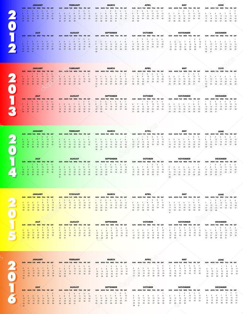 five year calendar 2012 2016 sunday start stock vector five year calnadar