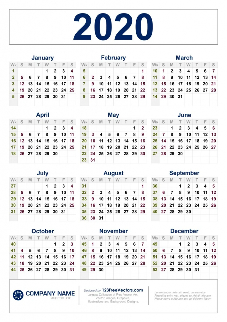 free download 2020 calendar with week numbers in 2020 6 week printable calendar 2020