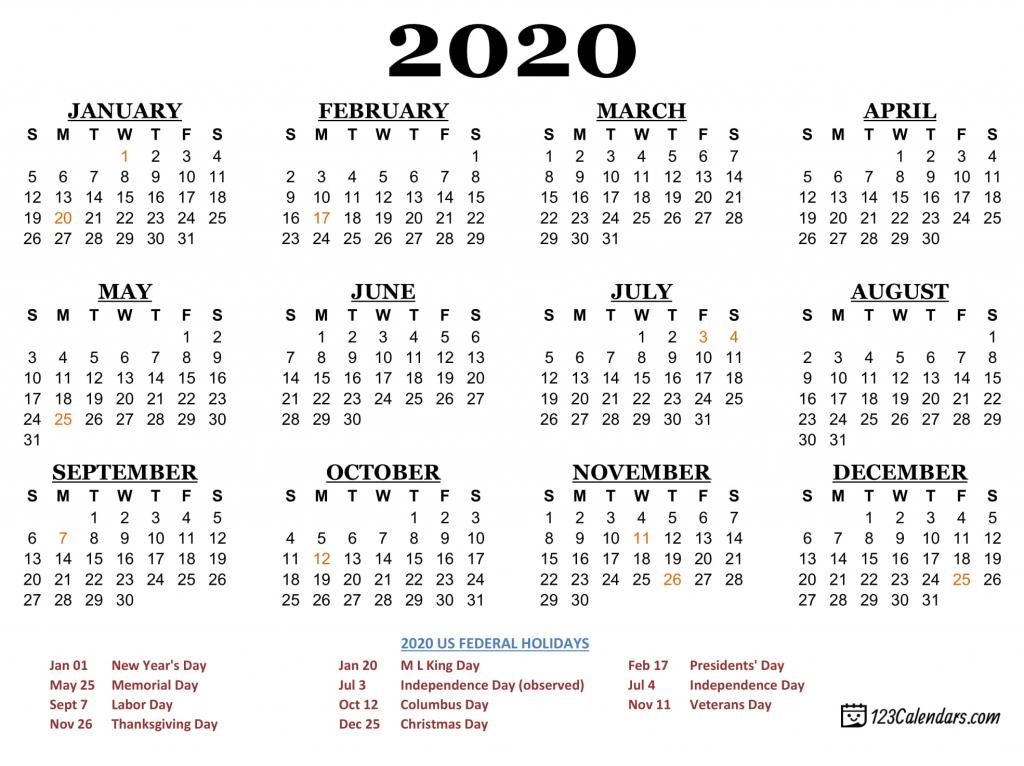free printable 2020 calendar 123calendars wallet size 2020 calendar free printable 1