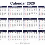 Free Printable 2020 Calendar With Week Numbers 6 Week Printable Calendar 2020