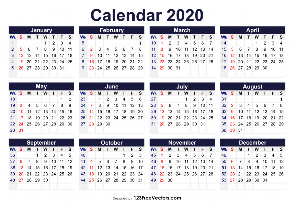 free printable 2020 calendar with week numbers 6 week printable calendar 2020