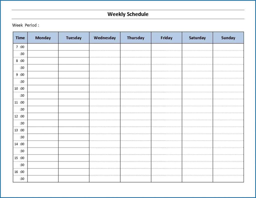 Free Printable 7 Day Schedule Template Templateral 7 Day Schedule Template