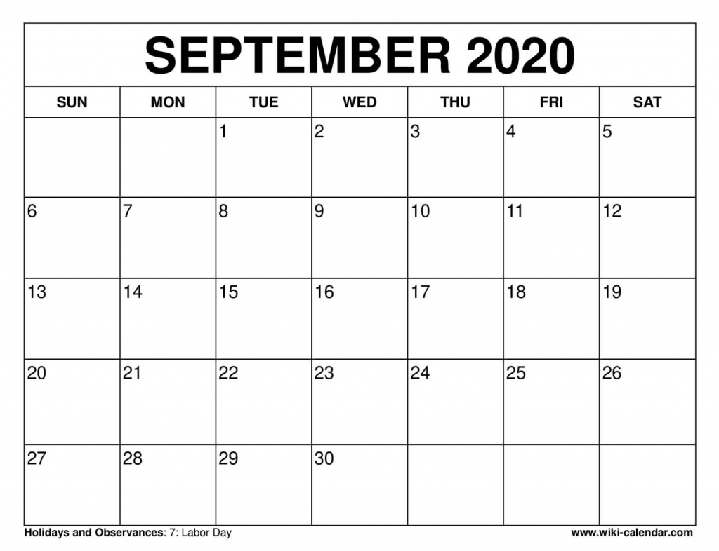 Free Printable September 2020 Calendars 8.5 X 11 Printable September 2020 Calendar
