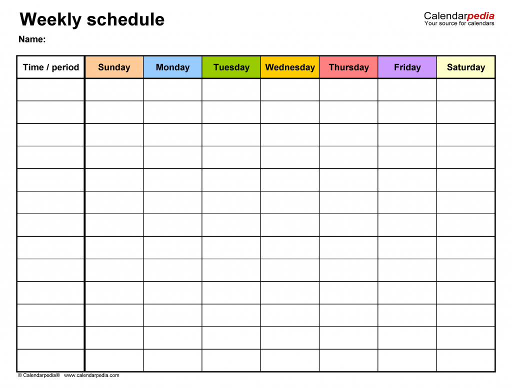 Free Weekly Schedule Templates For Word 18 Templates Seven Day Calendar Printable