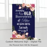 Navy Blue Bridal Shower Sign Days Until I Do Wedding Countdown Sign Something Old New Borrowed And Blue Sign Custom Printable File B54 Print Countdown To Wedding Day Office Notic3e