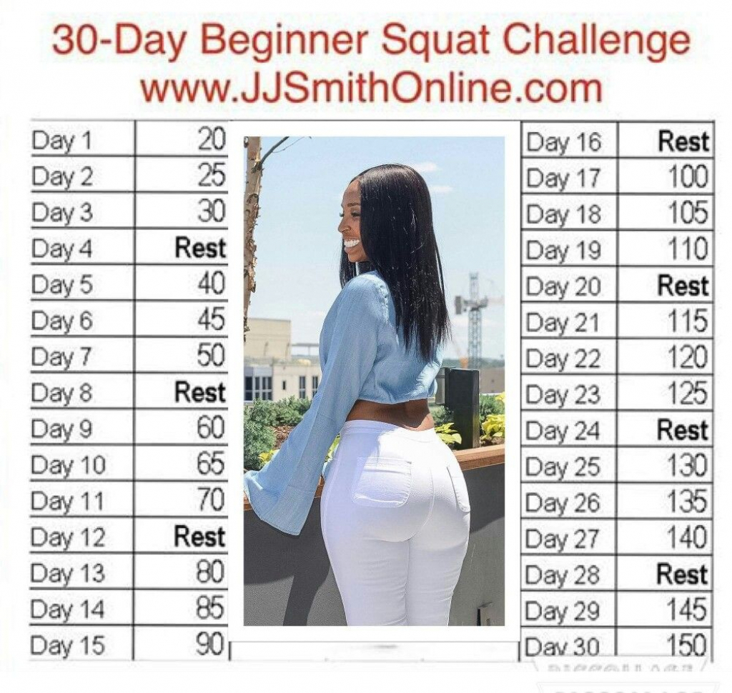 Pin Jaimee Lee Marsden On Exercise 30 Day Squat Jj Smith 30 Day Squat Challenge Printable