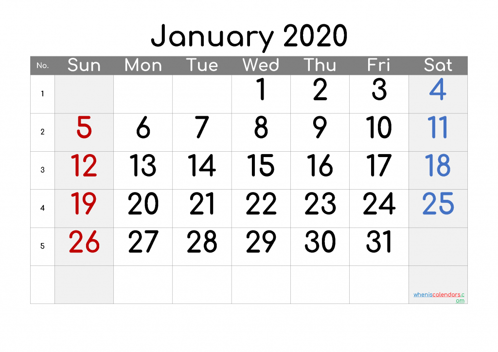 printable calendar 2020 january free printable 2020 6 week printable calendar 2020
