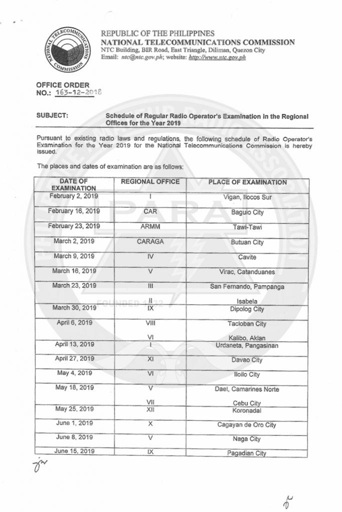 schedule of regular radio opearators examination in the ham radio contest schedule 2020
