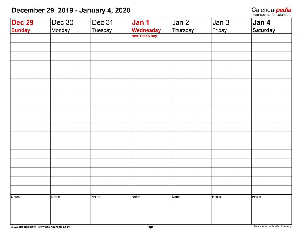 Weekly Calendars 2020 For Word 12 Free Printable Templates 2020 Weekly Calendar With Hours Printable 2