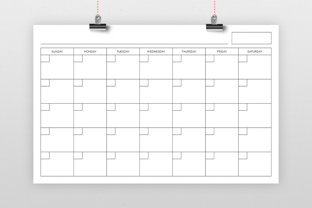 11x17 Blank Calendar Page Blank Calendar 11x17
