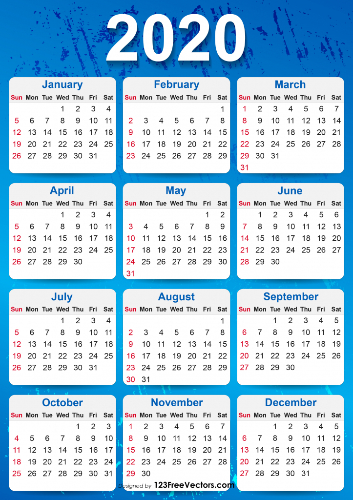 10 Year Calendar Printable Calendar Template 2020