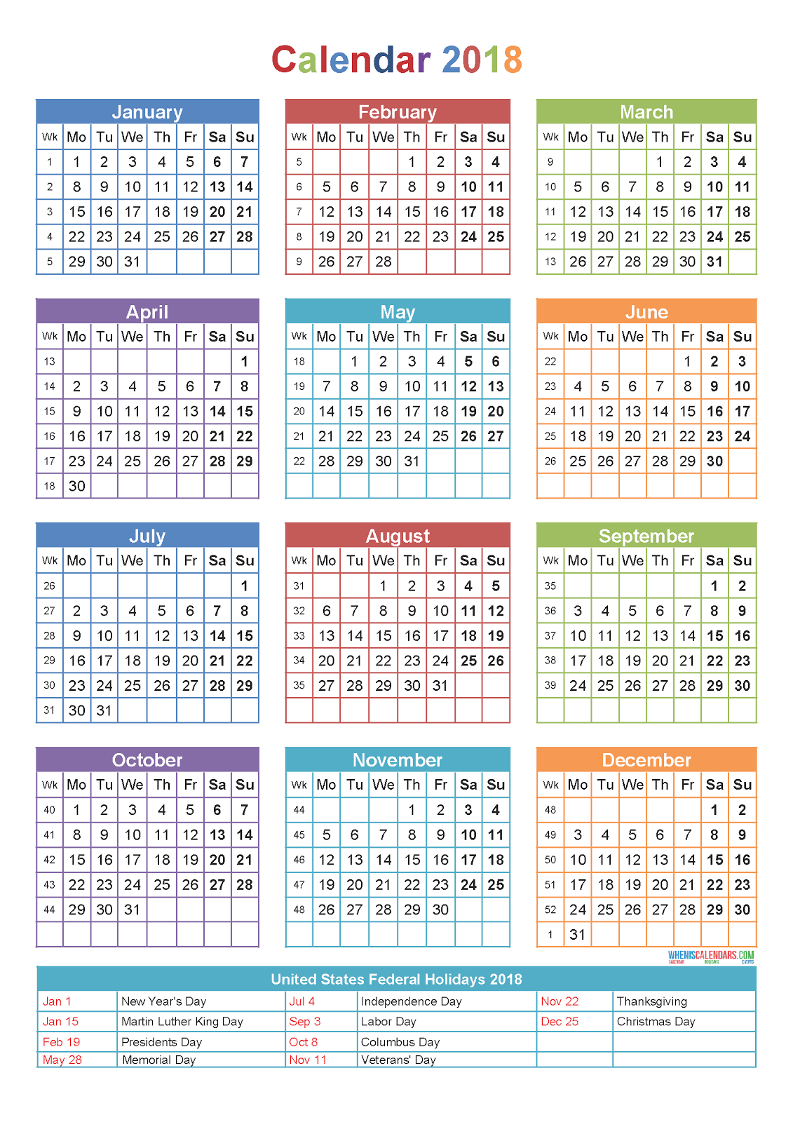 10 Yearly Calendar 2018 Templates Pdf Word Excel 2020