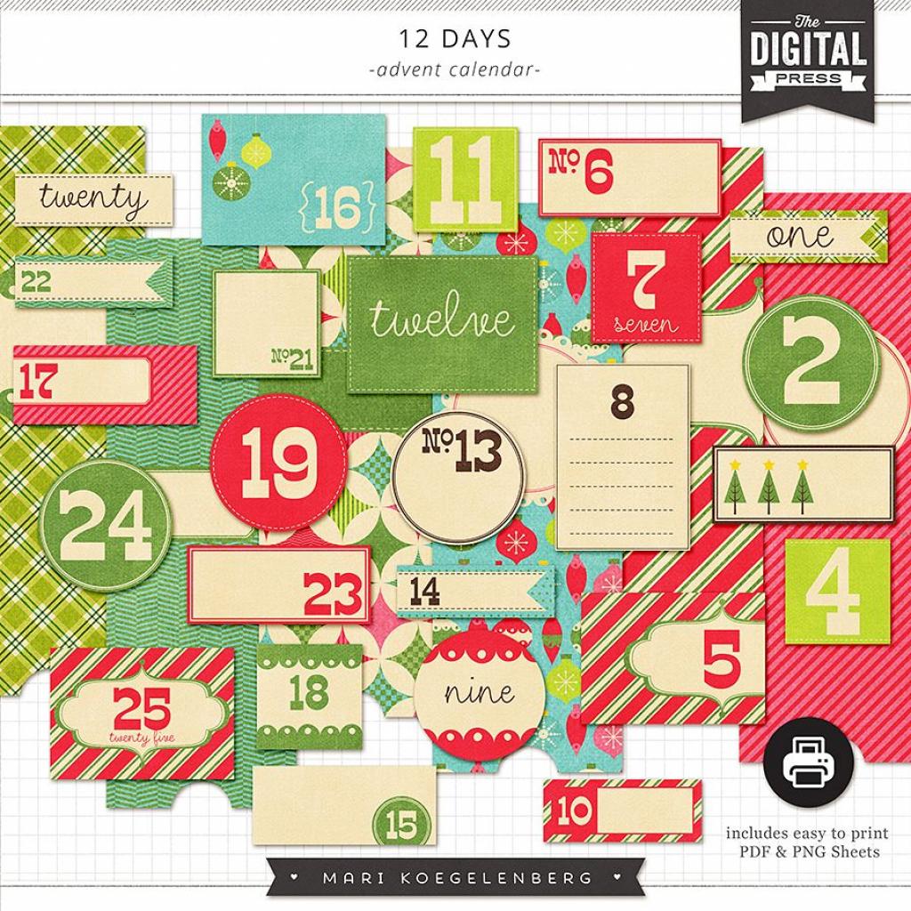 12 Days Of Christmas Advent Calender Template Calendar 1