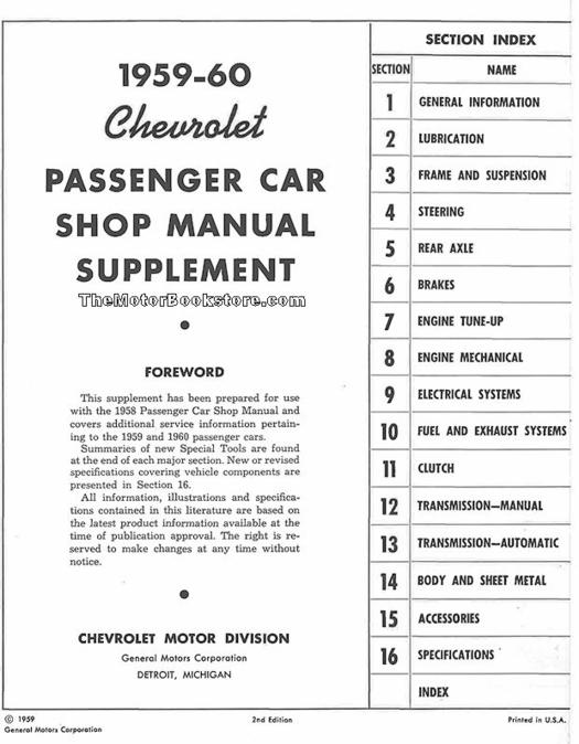 1959 1960 Chevrolet Passenger Car Shop Manual Supplement