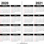 2 Year Calendar 2020 2021 Calendar Printable Free