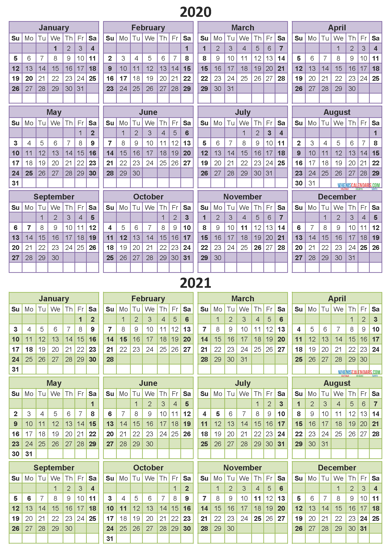 2 Year Calendar Printable 2020 2021 Word Pdf Image