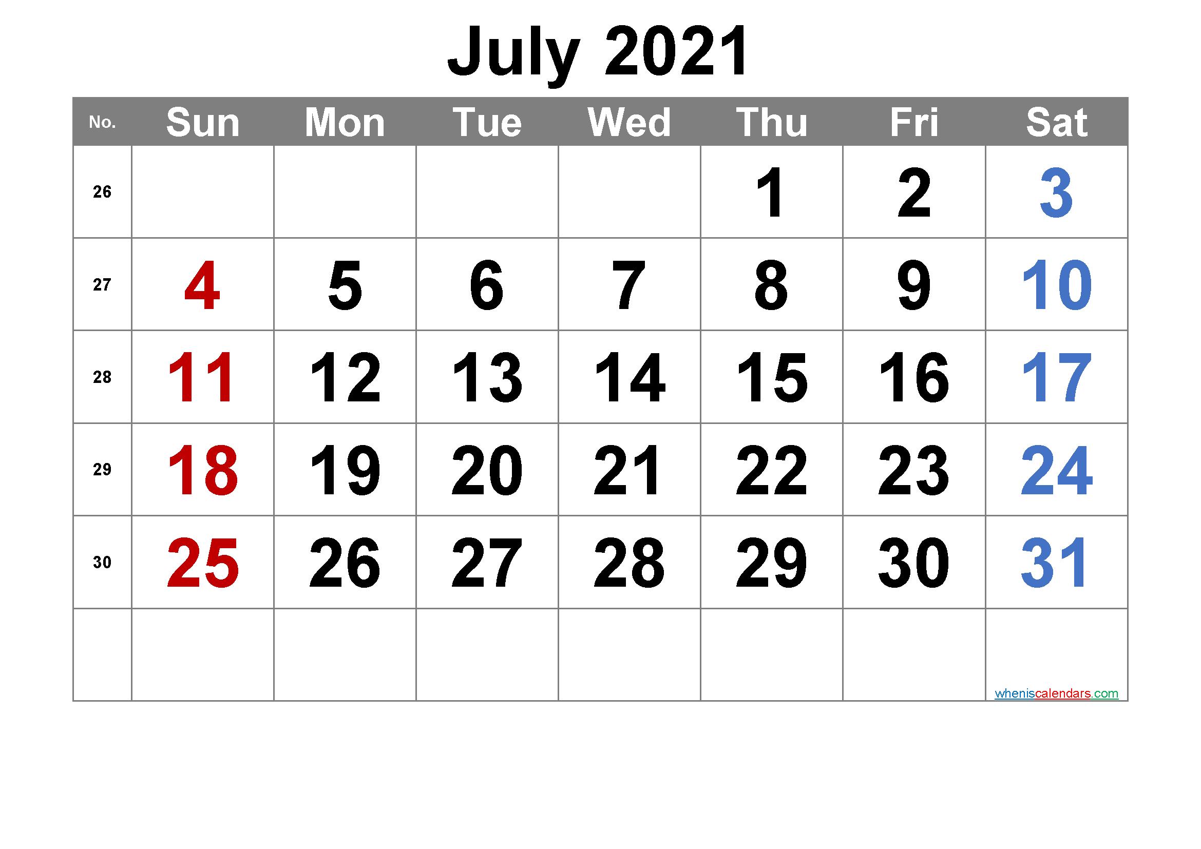 20 July 2021 Calendar Free Download Printable Calendar