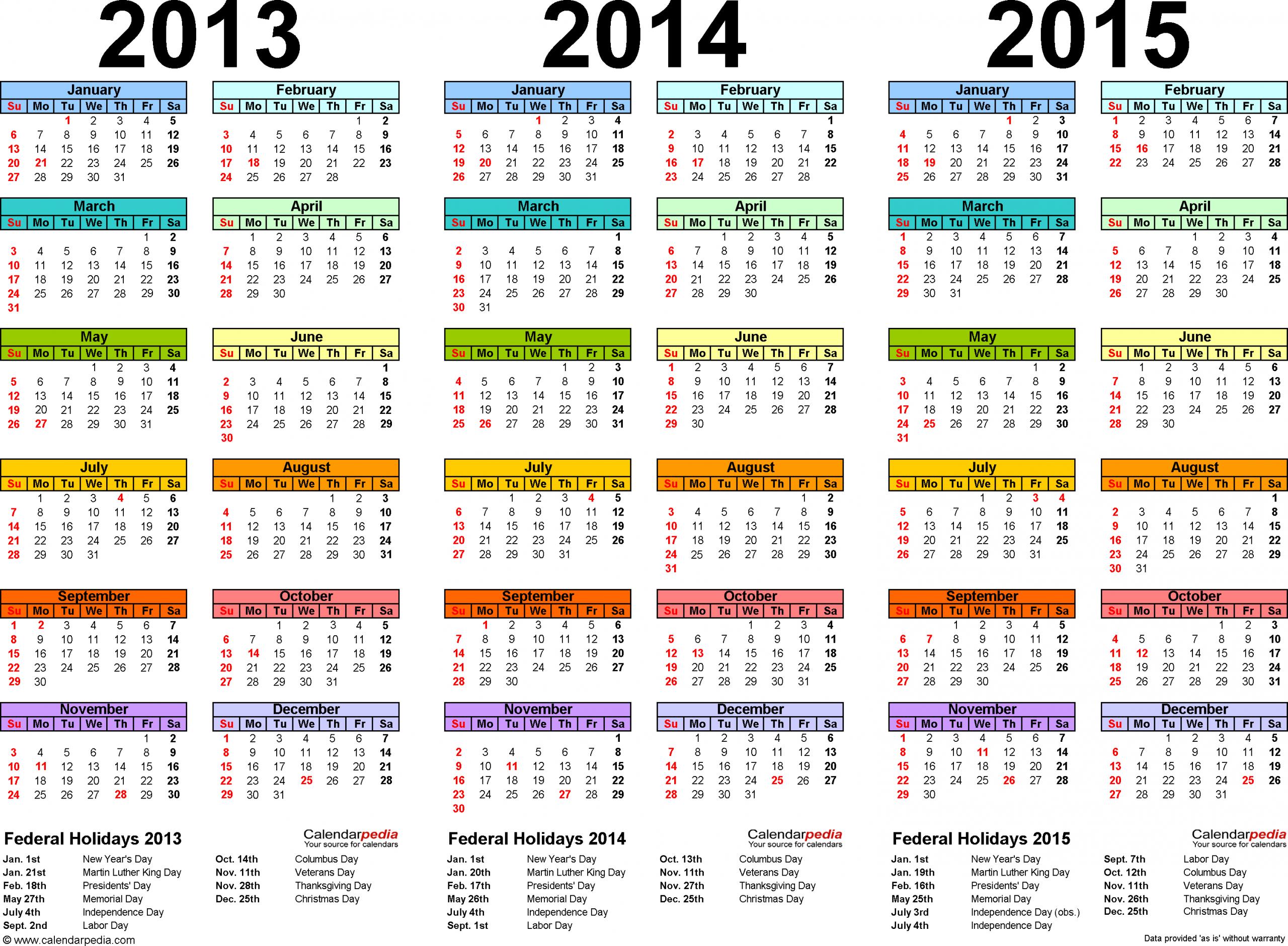 2013 2015 Three Year Calendar Free Printable Word Templates
