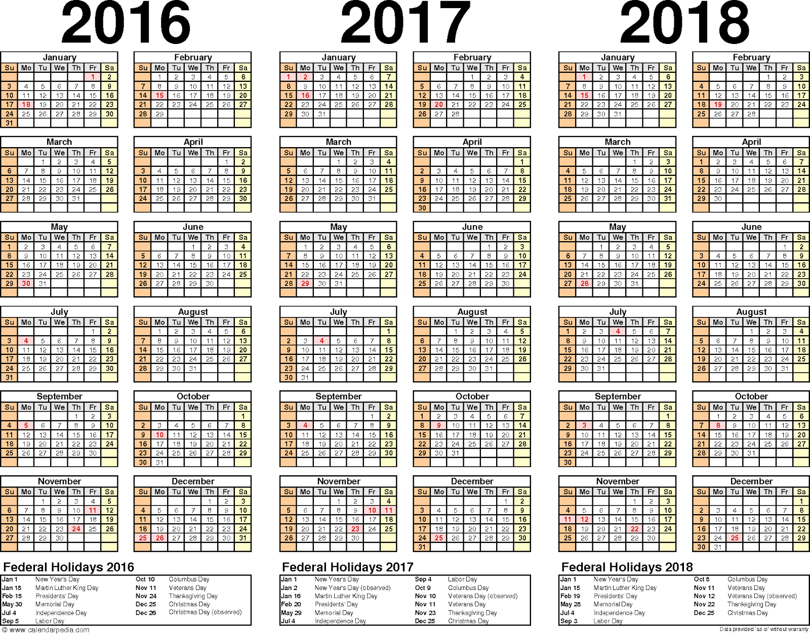 2016 2017 2018 Calendar Word And Excel 1