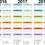 2016 2017 2018 Calendar Word And Excel