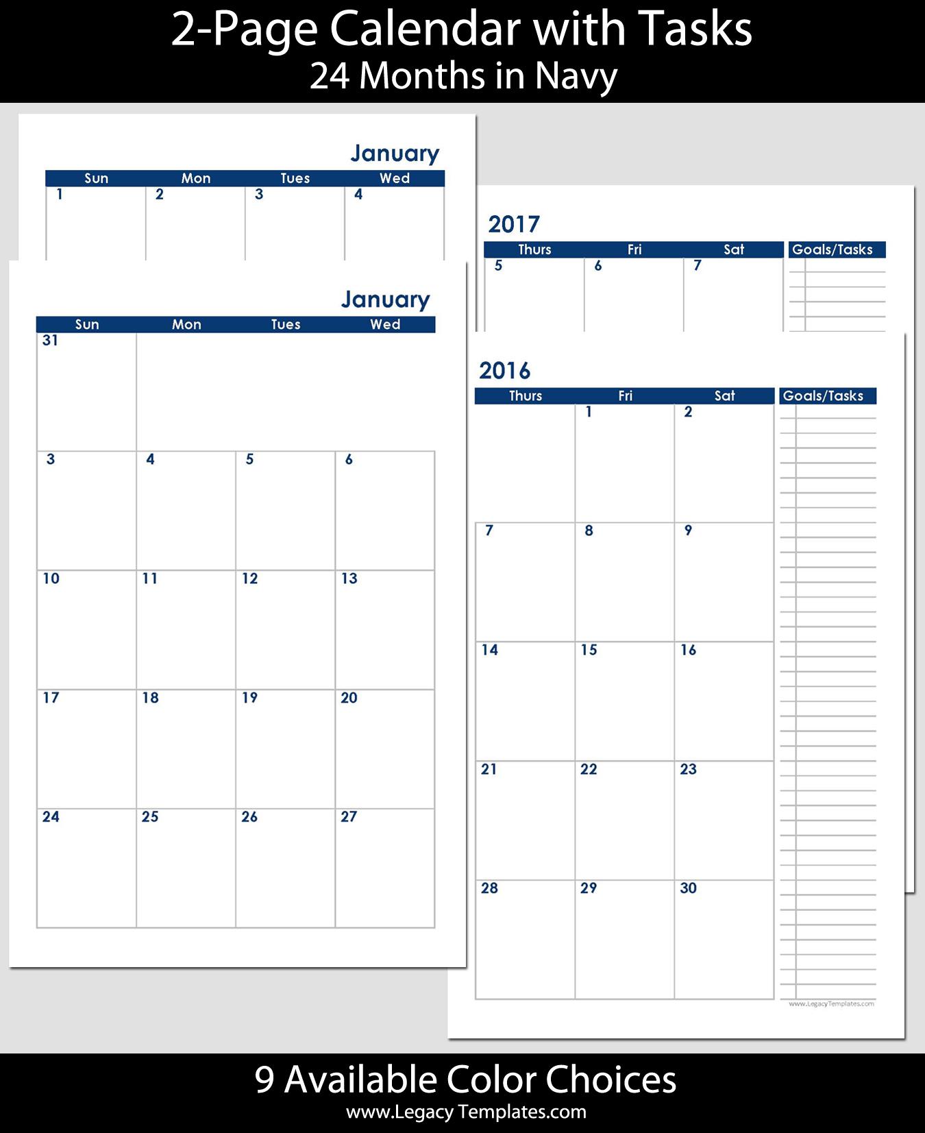 2016 2017 24 Months 2 Page Calendar Half Size
