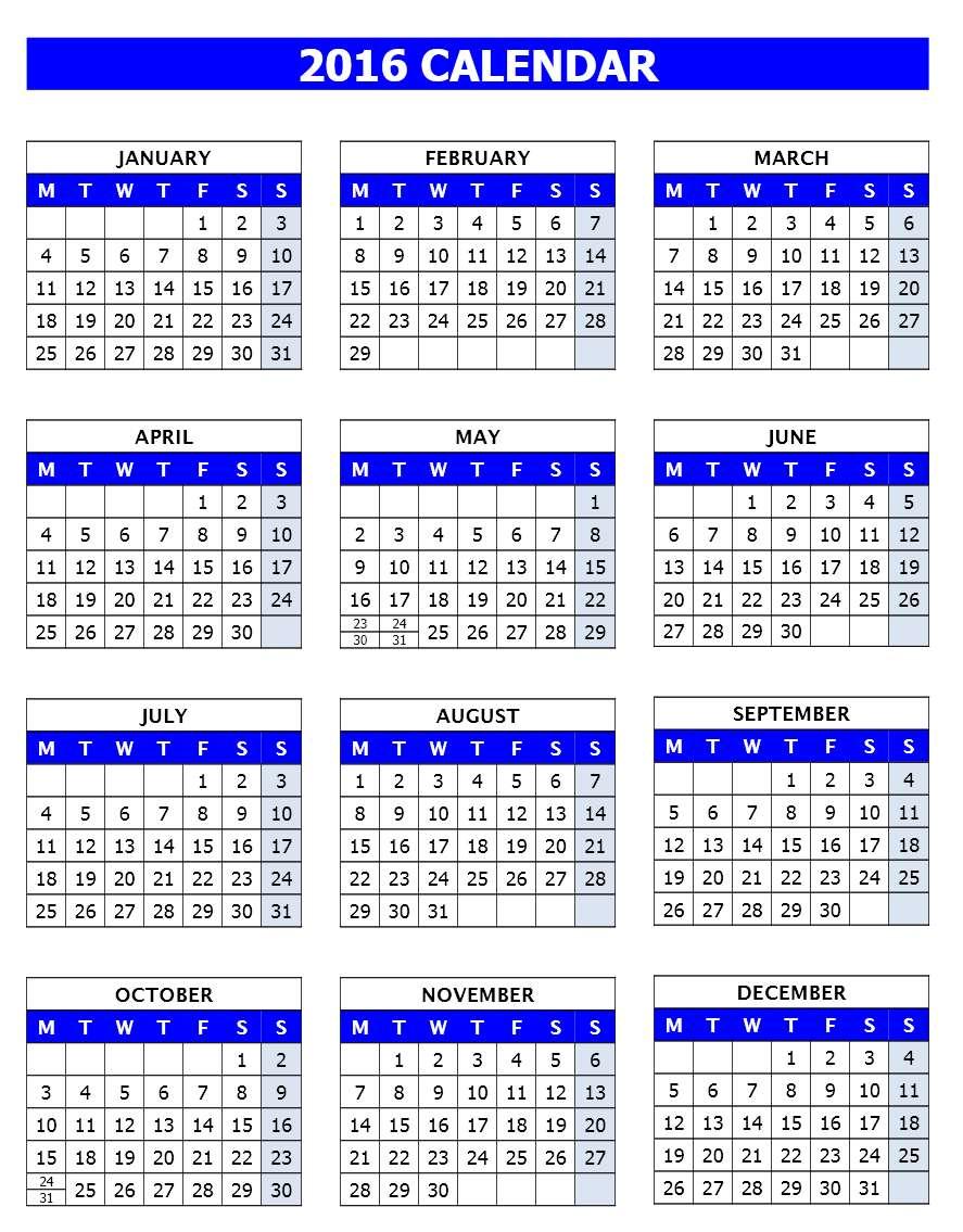 2016 Calendar Templates Microsoft And Open Office Templates 1