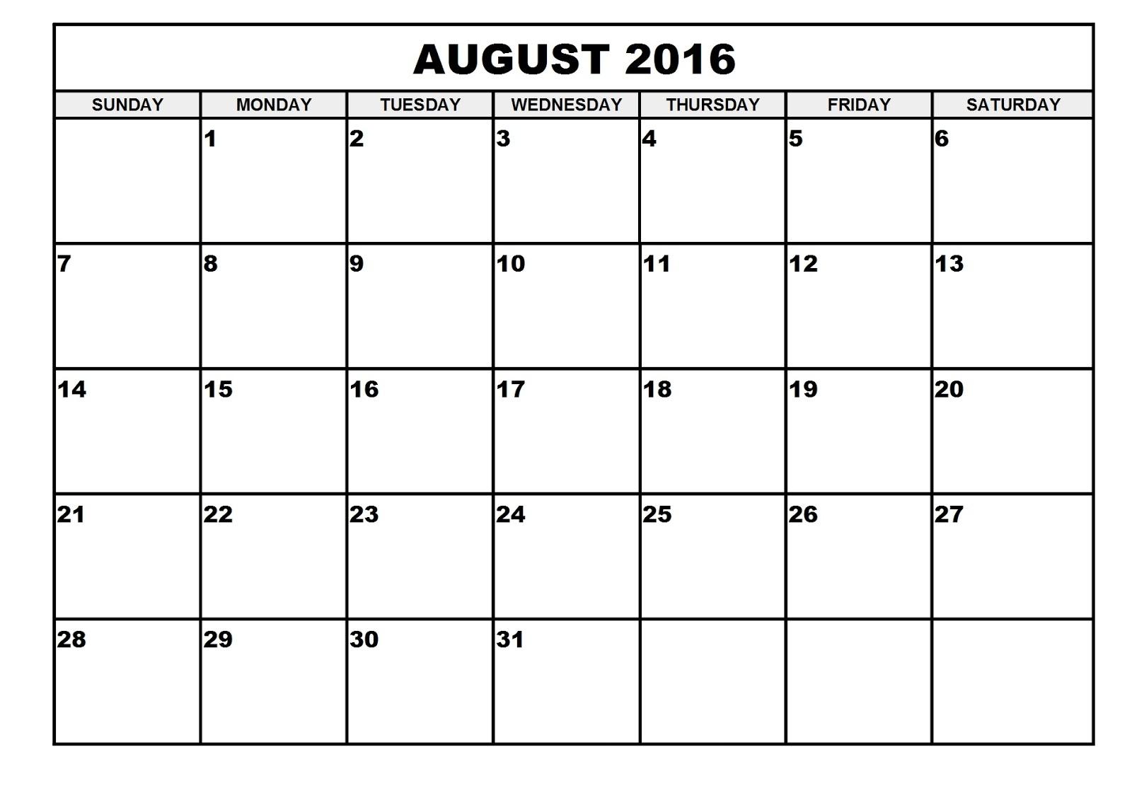 2016 Monthly Blank Calendar