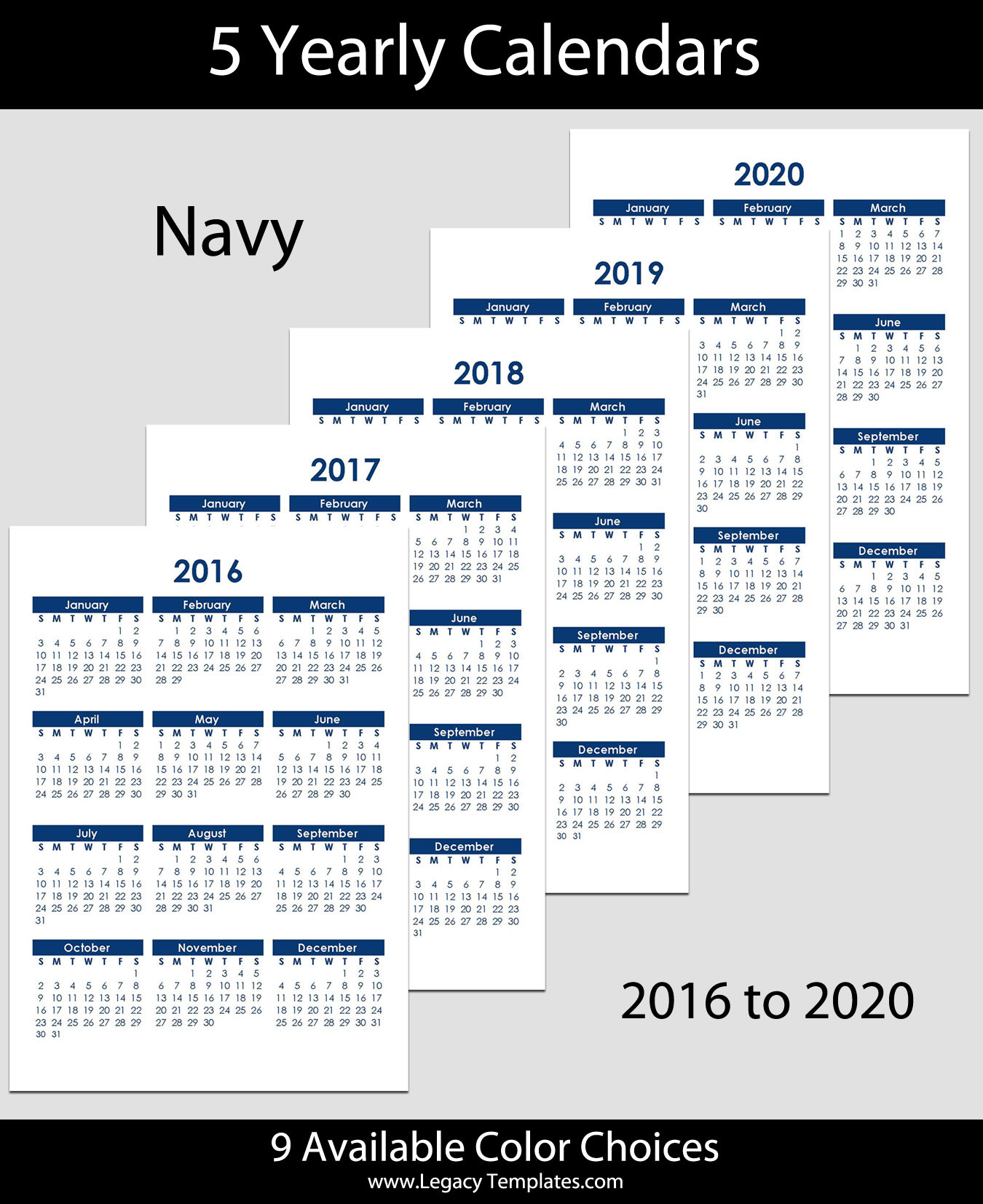 2016 To 2020 Yearly Calendar A4 Legacy Templates