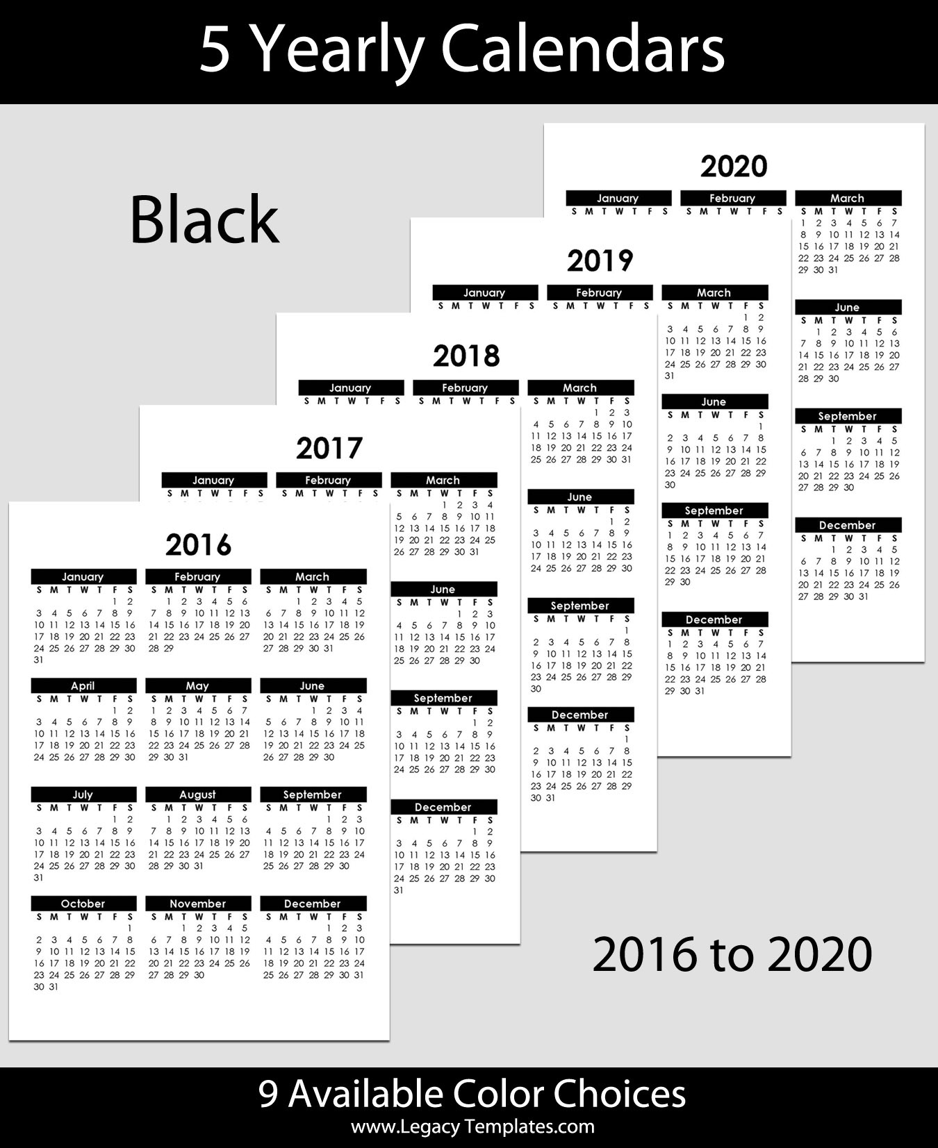 2016 To 2020 Yearly Calendar A5 Legacy Templates
