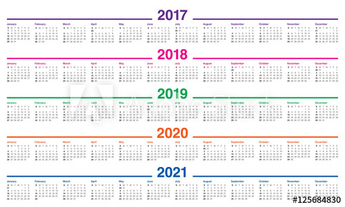 2017 2019 Year Calendar Stock Image And Royalty Free