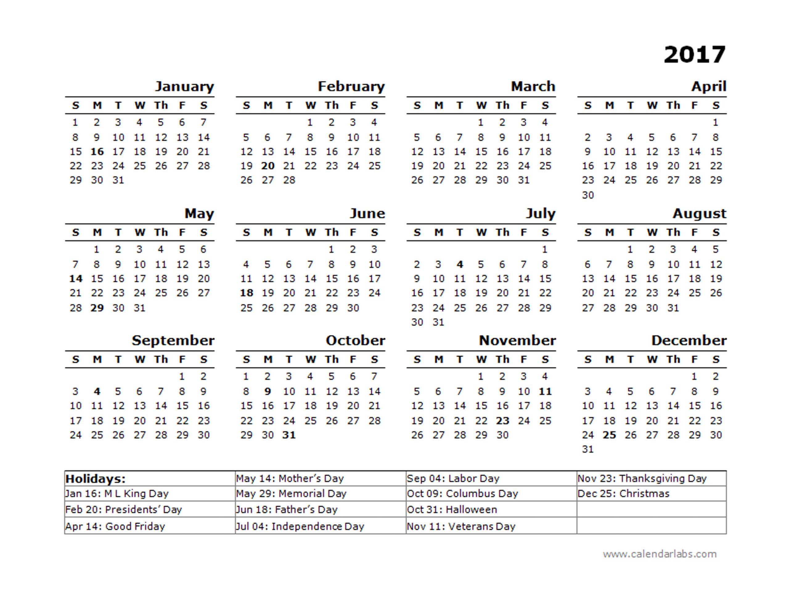 2017 Calendar Template Cyberuse
