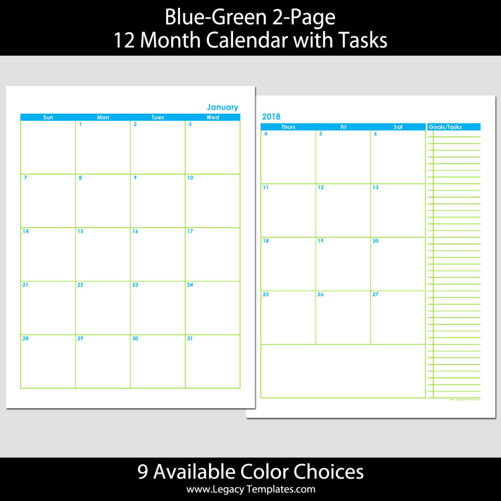 2018 12 Month 2 Page Calendar 8 5 X 11 Legacy Templates