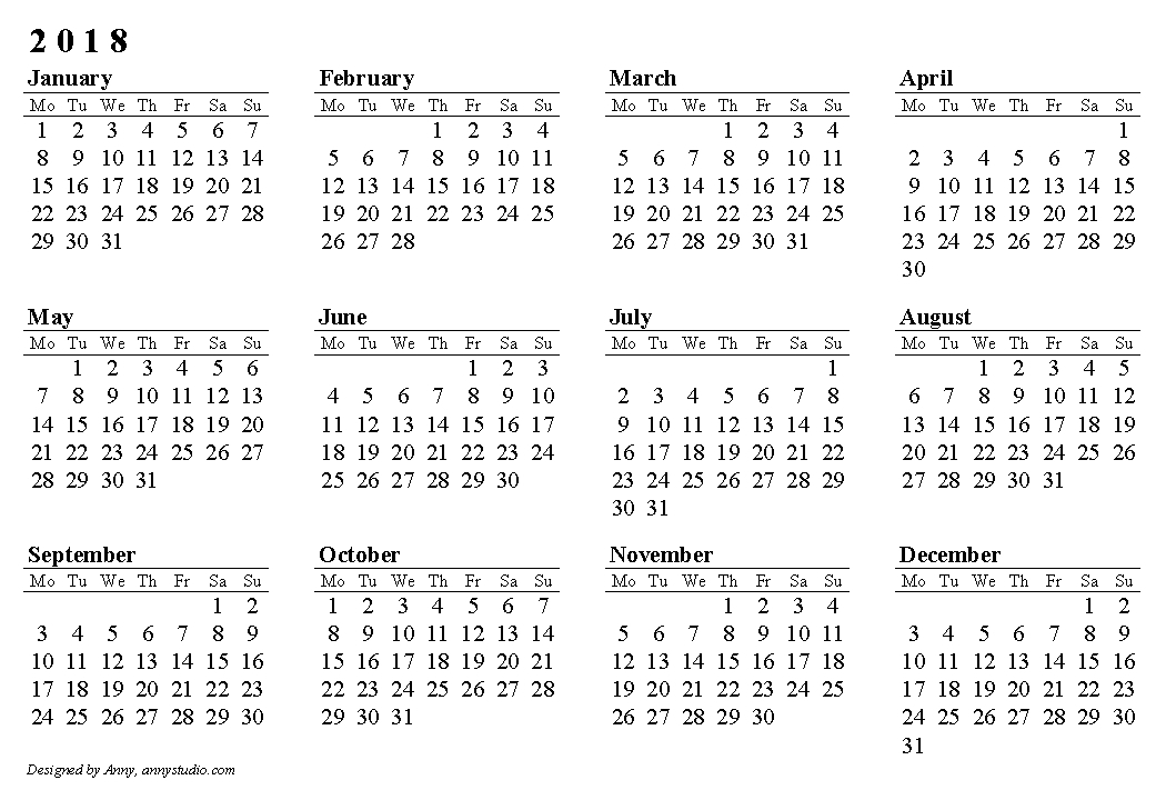 2018 Calendar Printable Calendar Yearly Printable