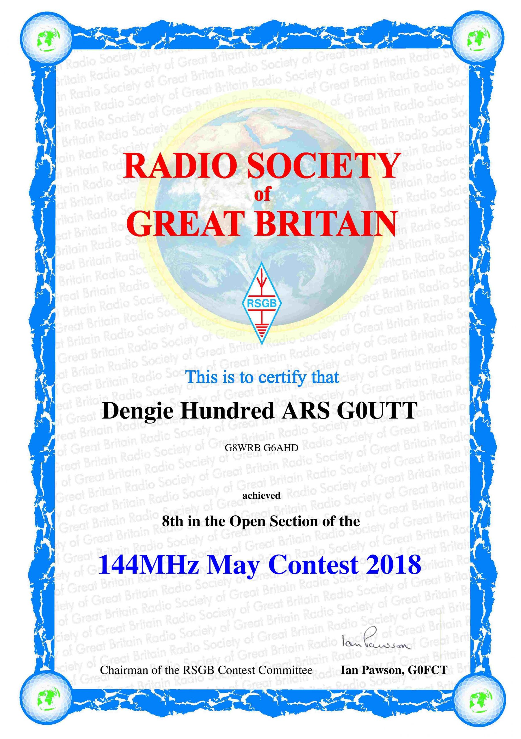 2018 Events At The Dengie Hundred Amateur Radio Society