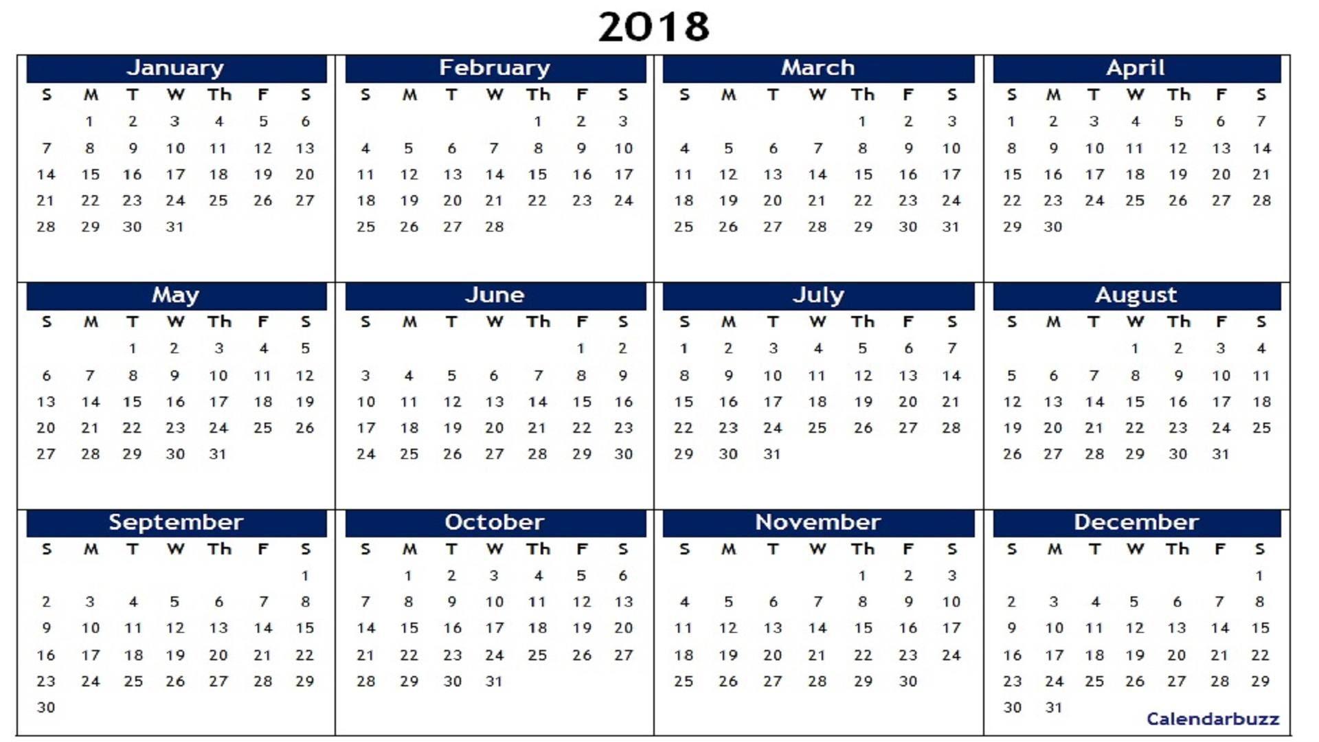 2018 Yearly Calendar Printable Calendar Printables
